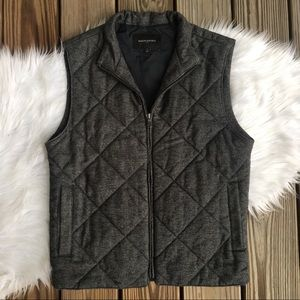 Banana Republic Quilted Puffer Full Zip Gray Vest
